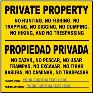 Custom Bilingual New Mexico No Trespassing Sign