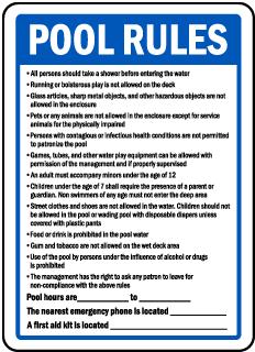 Arkansas Pool Rules Sign