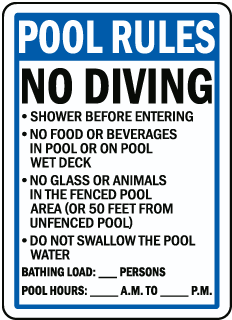 Florida Pool Rules No Diving Sign