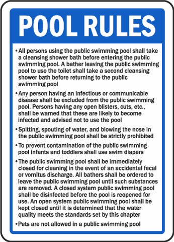 Hawaii Pool Rules Sign