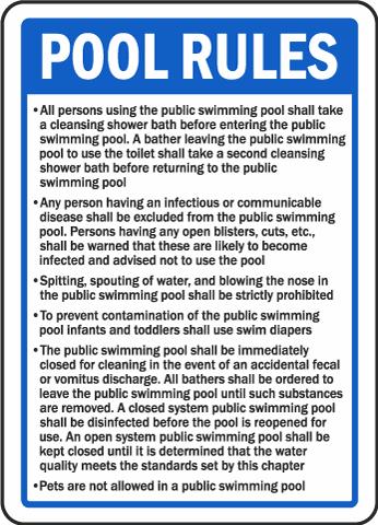 Hawaii Pool Rules Sign