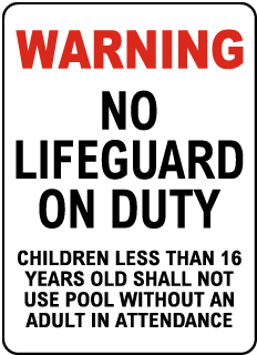 Wichita County Kansas No Lifeguard Sign