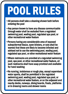 Wichita County Kansas Pool Rules Sign