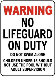 Maryland No Lifeguard Sign