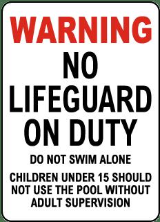 Maryland No Lifeguard Sign