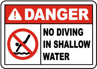 Maryland No Diving Shallow Water Sign