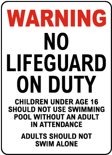 Massachusetts No Lifeguard Sign