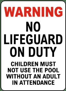 Minnesota No Lifeguard Sign