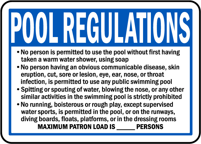 Nebraska Pool Regulations Sign