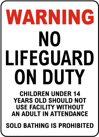 Nevada No Lifeguard on Duty Sign