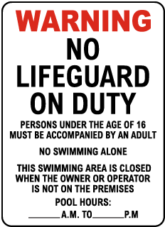 New Jersey No Lifeguard Hotel Sign