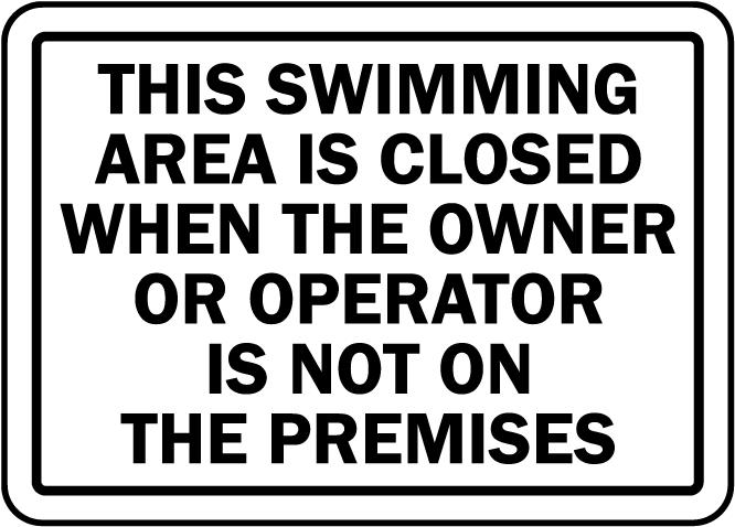 New Jersey Swim Area Closed Sign