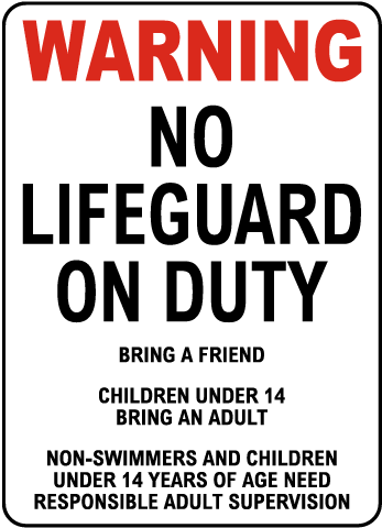 Oregon No Lifeguard Sign