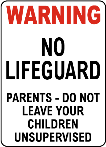 Oregon No Lifeguard Wading Pool Sign