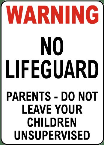 Oregon No Lifeguard Wading Pool Sign