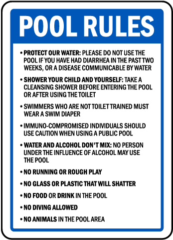 Oregon Pool Rules No Diving Sign