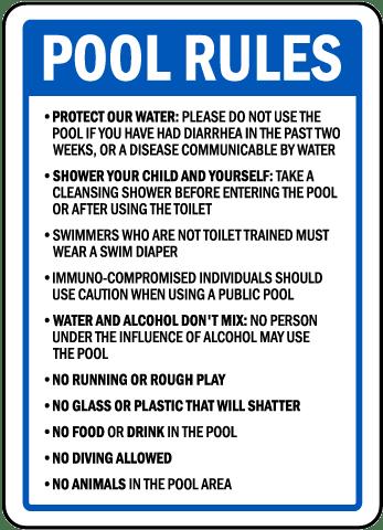 Oregon Pool Rules No Diving Sign