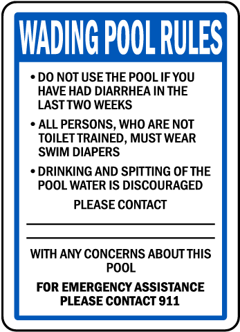 Oregon Wading Pool Rules Sign
