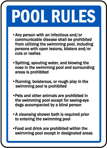 Rhode Island Pool Rules Sign