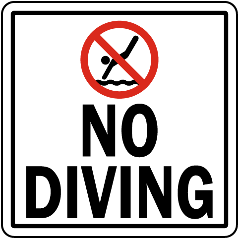 Texas No Diving Sign