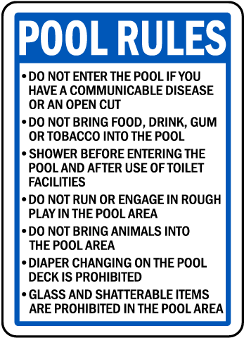 Wisconsin Pool Rules Sign