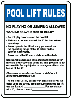 Pool Lift Rules Sign