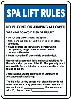 Spa Lift Rules Sign