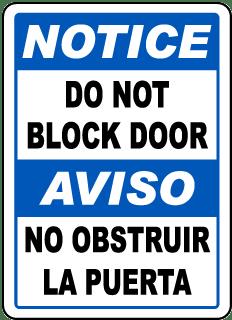 Bilingual Notice Do Not Block Door Sign