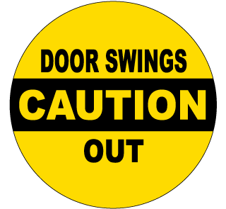 Caution Door Swings Out Label