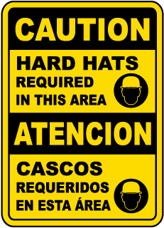 Bilingual Caution Hard Hats Required In This Area Sign