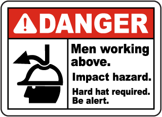 Men Working Above Impact Hazard Sign