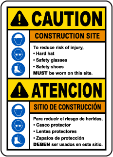 Bilingual Caution Construction Site Risk of Injury Sign