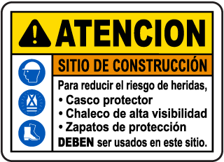 Spanish Caution Construction Site Risk of Injury Sign