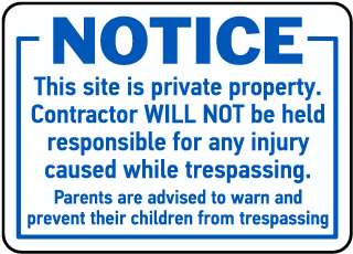 Notice Private Property Sign