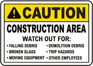 Caution Construction Area Sign