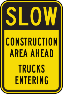 Slow Construction Area Ahead Sign