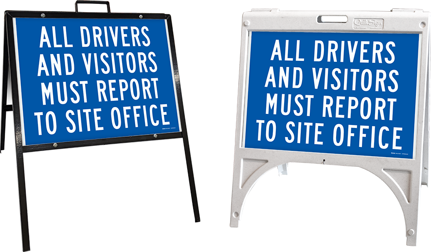 All Drivers and Visitors Report to Site Office Sign