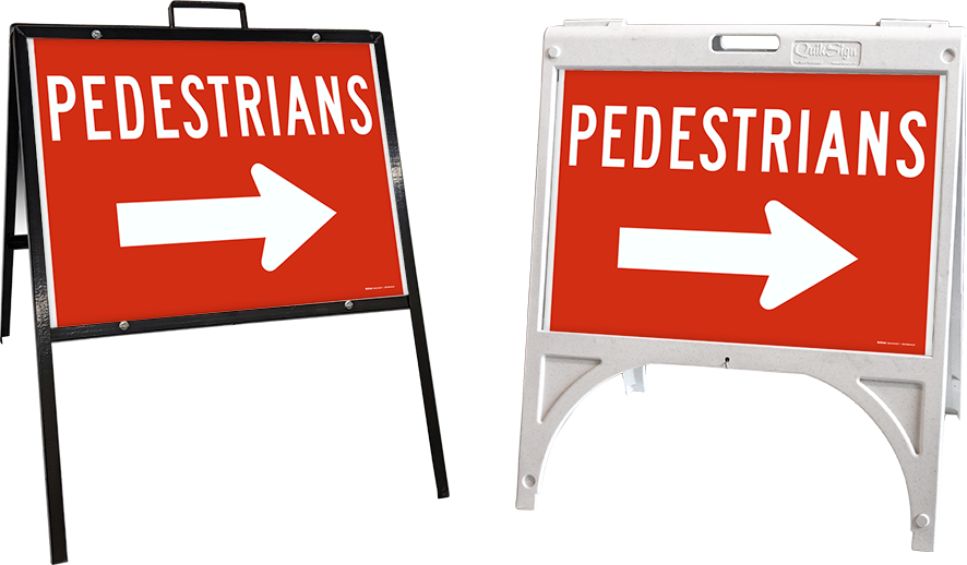 Pedestrians to the Right Sign