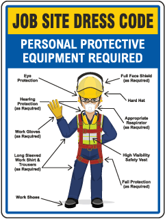 Job Site Dress Code Max PPE Required Sign