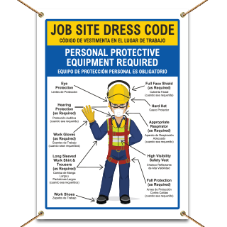 Bilingual Job Site Dress Code Max PPE Required Banner