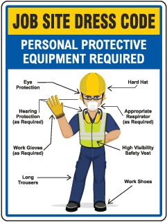 Job Site Dress Code Min. PPE Sign