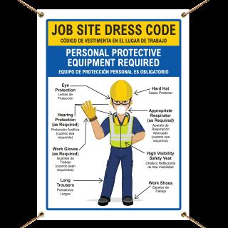 Bilingual Job Site Dress Code Min. PPE Banner