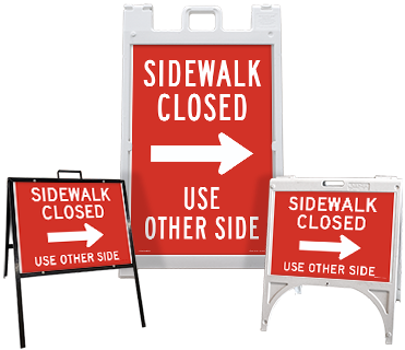 Sidewalk Closed Use Other Side (Right Arrow) Sandwich Board Sign