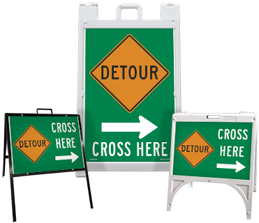 Detour (Right Arrow) Cross Here Sandwich Board Sign