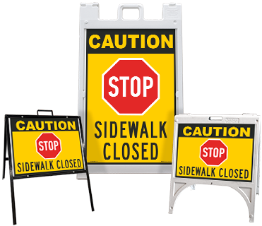Caution Stop Sidewalk Closed Sandwich Board Sign
