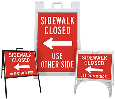Sidewalk Closed Use Other Side (Left Arrow) Sandwich Board Sign