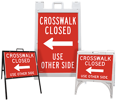 Crosswalk Closed Use Other Side (Left Arrow) Sandwich Board Sign