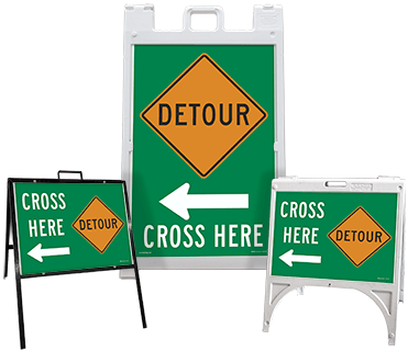 Detour (Left Arrow) Cross Here Sandwich Board Sign