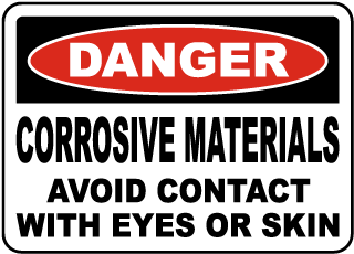 Corrosive Materials Avoid Contact Sign