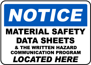 Safety Data Sheets Located Here Sign